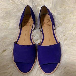 Dolce Vita Blue faux suede open toe flats
